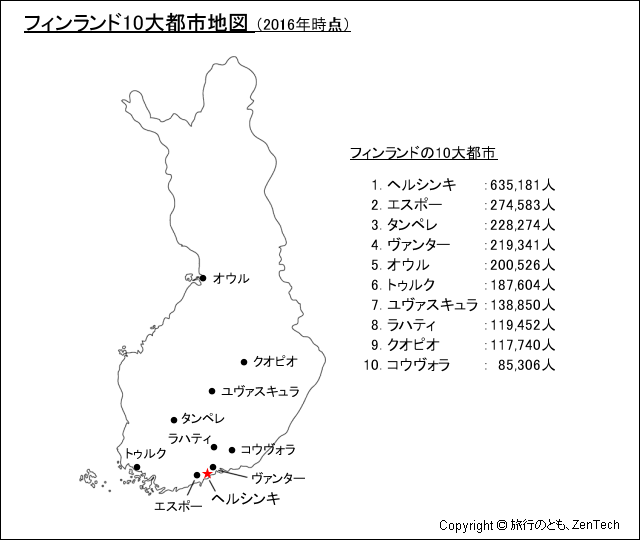 フィンランド10大都市地図 - 旅行のとも、ZenTech