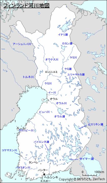 フィンランド河川地図 - 旅行の...