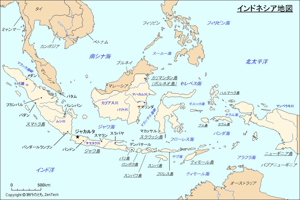 インドネシア地図 - 旅行のとも、ZenTech