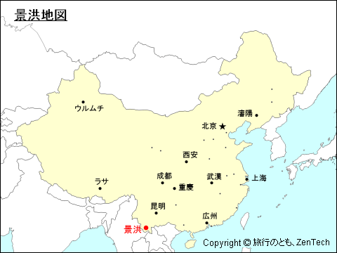 雲南省:景洪地図 - 旅行のとも、ZenTech