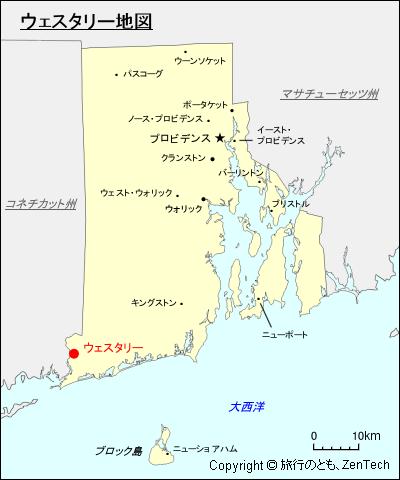 ウェスタリー地図(ロードアイランド州) - 旅行のとも、ZenTech