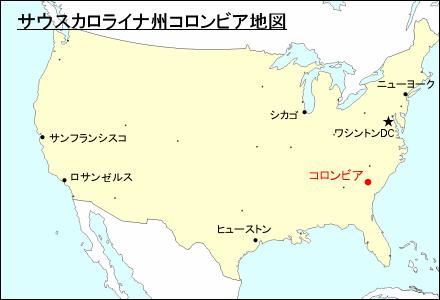 サウスカロライナ州コロンビア地図